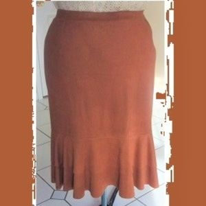 Cinnamon Brown Micro-Suede Double Flounce Skirt